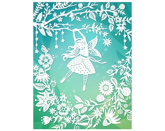 8x10 Print - Flower Fairy - Original Papercut Illustration - Fine Art Print