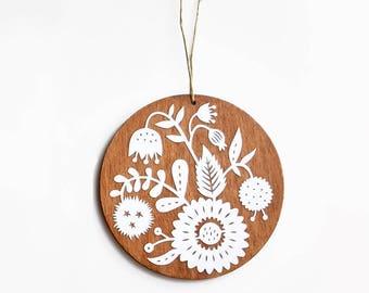 Papercut Ornament #3 - Handcut Paper on Wood - Keepsake Holiday Ornament