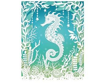 5x7 Print - Seahorse - Original Papercut Illustration - Under the Sea