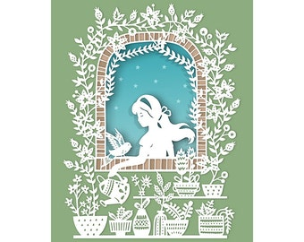Country Window - 8x10 Print of Original Papercut Illustration  - Fine Art Print