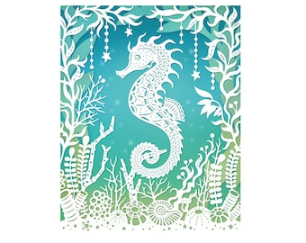 Seahorse - 8x10 Print of Original Papercut Illustration  - Fine Art Print