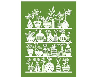 5x7 Print - Potted Plants - Print of Original Papercut Illustration