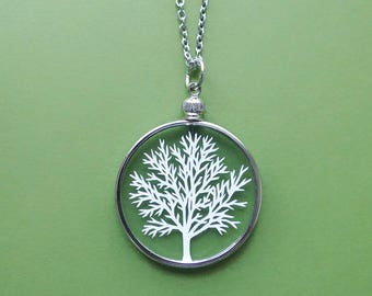 Papercut Tree Necklace - Original Handcut Paper in Glass Pendants with Silver Chain