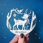Personalized Holiday Ornaments - Woodland Friends - Acrylic Christmas Ornaments