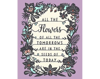 8x10 Print - Tomorrow's Flowers - Original Papercut Illustration - Fine Art Print
