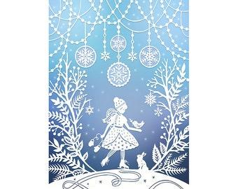 5x7 Print - Winter Wonderland - Original Papercut Illustration