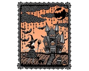 8x10 Fine Art Print - Halloween - Original Papercut Illustration - Orange and Black