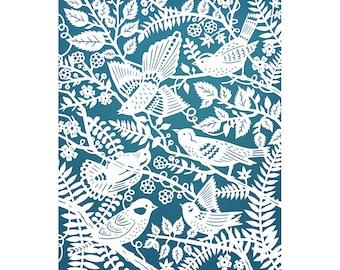 Wild Birds - 8x10 Print of Original Papercut Illustration  - Fine Art Print - Blue and White