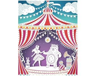 Circus Party - 5x7 Print - Original Papercut Illustration - Fine Art Print