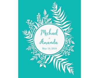 "8x10"" Personalized Print of Original Papercut - Customized with Your Names - Round Leafy Border"