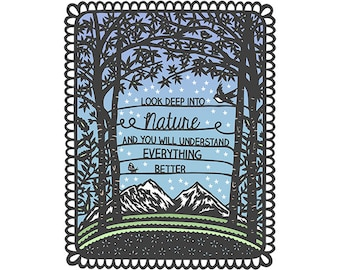 8x10 Print of Original Papercut Illustration - Look into Nature - Fine Art Print