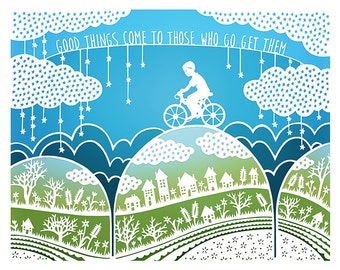 5x7 Print - Good Things - Original Papercut Illustration - Bicycle - Inspirational Quote