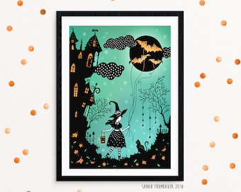 8x10 Print - Trick or Treat - Original Papercut Illustration - Fine Art Print