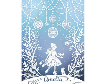 Personalized Print - 5x7 Print of Original Papercut - Customized with Your Name - Winter Wonderland Illustration