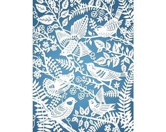 5x7 Print - Wild Birds - Print of Original Papercut Illustration