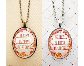 "Necklace - Be Brave - Papercut Illustration Pendant with 24"" Antique Bronze or Silver Chain"