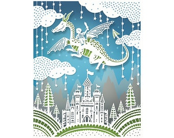 Dragon Adventure - 5x7 Print - Original Papercut Illustration - Fine Art Print