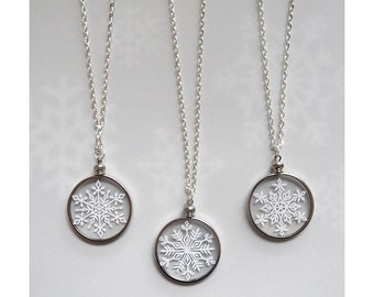 """Snowflake Necklace - Paper Cut Jewelry - Handcut Paper in Glass with 24"""" silver chain"""