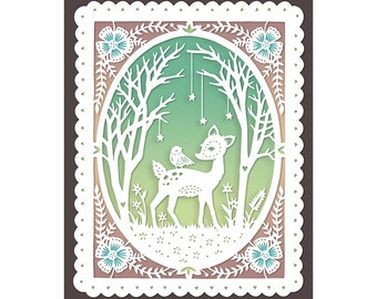 Woodland Friends - 8x10 Print of Original Papercut Illustration  - Fine Art Print