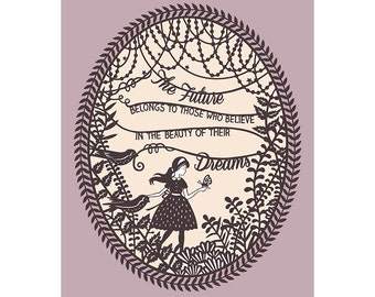 Beauty of Dreams - 8x10 Papercut Illustration Print - Inspirational Quote
