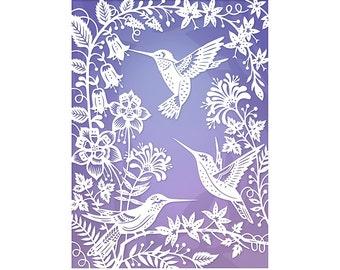 8x10 Print - Hummingbirds - Original Papercut Illustration