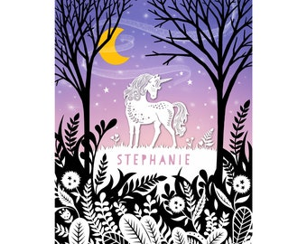 Personalized Print - 8x10 - Unicorn - Original Papercut Illustration - Customized with Your Name