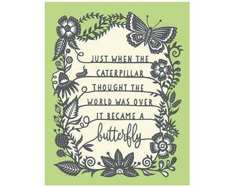 The Caterpillar and the Butterfly - 5x7 Print - Original Papercut Illustration - Fine Art Print