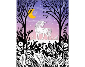 8x10 Print - Unicorn - Original Papercut Illustration - Fine Art Print