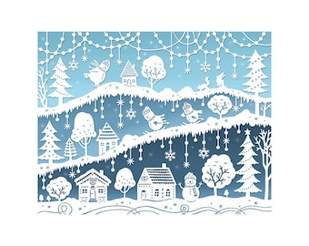 Snow Day - 5x7 Print - Original Papercut Illustration - Snowmen