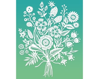 Floral Bouquet - 8x10 Print of Original Papercut Illustration  - Fine Art Print