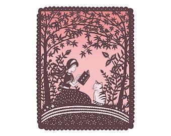 5x7 Print - Dinah - Girl and Cat Reading Under Trees - 5x7 Fine Art Print