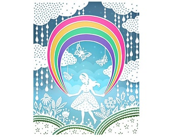 Rainbow - 5x7 Print - Original Papercut Illustration - Fine Art Print