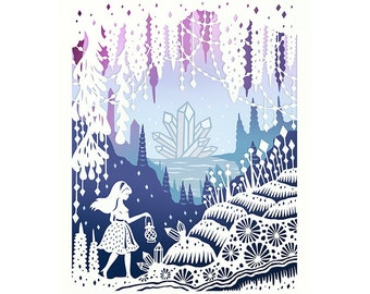 8x10 Print - Crystal Cave - Hand-Embellished Fine Art Print - Original Papercut Illustration
