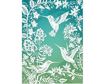Hummingbirds - 5x7 Art Print - Original Papercut Illustration