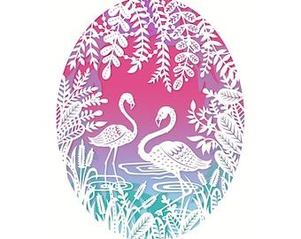 Flamingos - 5x7 Print - Original Papercut Illustration - Fine Art Print