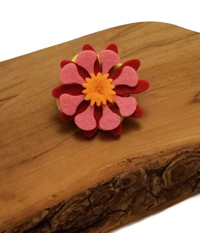 RedPinkOrange Felt Collar Flower