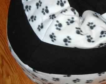 Large Fleece Pet Bed - Machine Washable - Paw Prints