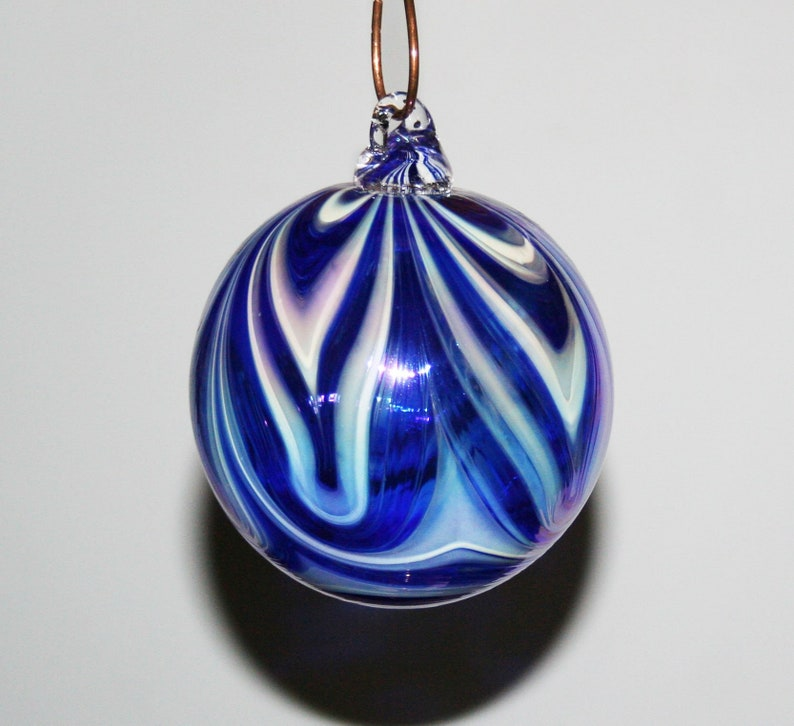 Hand Blown Glass Christmas Ornaments Iridescent White And Cobalt Blue Hooked