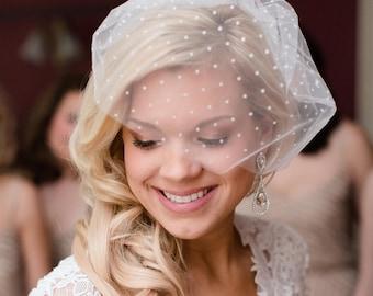 Ivory Bird cage Veil, Polka Dot Veil, Tulle Birdcage Veil with polka dots, retro ivory veil bridal accessories