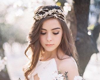 Gold Crystal Wedding Headband, Bridal Headpiece with Ivory Flowers, Crystal Vine Tiara, Unique High Quality Bridal Headband, Handmade, #307