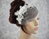 Ready to Ship - Bird Cage Veil, Lace birdcage Veil, Ready to Ship, Vintage Style Birdcage Veil, Detachable veil - ivory - 113BC