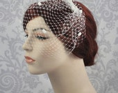 Birdcage Veil with Chenille Dots and Bow - Small Veil in Ivory,White,Champagne, or Black,Polka Dot Veil French Net Veil - 106BC