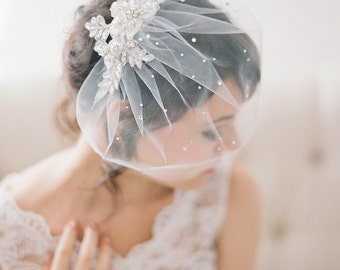 Crystal Lace Birdcage Veil, Tulle Birdcage Veil with Crystals, Veil with Rhinestones and Lace, Blusher Veil with Crystals, Lace, Wedge #718