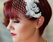 Birdcage Veil - Detachable, Headband Veil with french netting lace and silk rosettes - ivory, white, silver, champagne - 102BC
