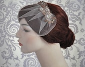Blush Veil, Tulle Birdcage Veil with Beaded Lace, Bridal Hair Accessories, Tulle, Blusher Veil, Mauve, Pink, Rose Veil - 117BC