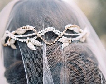 Leaf vine Headpiece, Autumn Leaves Bridal Headband, Fall Bridal Accessories, Champagne and Silver, Leaf Vine Hairpiece, Champagne #229W