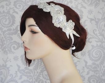 Crystal Bridal Headpiece with Satin Ribbon, Wedding Headband, Bridal Hair Piece, Rhinestone Bridal Headband - 112HB