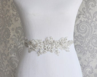 Reserved Listing for a matching headpiece, Crystal Sash, Rhinestone Bridal Sash on Floral Lace, Silver Crystal wedding sash - 102S
