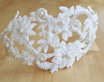 Lace Headband, Lace Bridal Cap, Crystal and Lace Bridal Headpiece, Juliet Cap, Lace Headband, Vintage Wedding Cap, Custom Bridal Hat #308