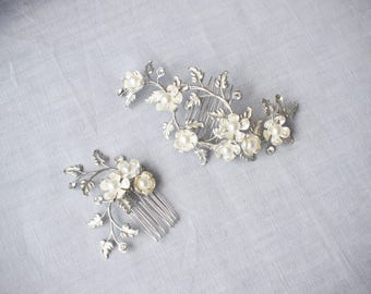 Reserved Listing - Small Comb Only - Bridal Hair Combs with Flowers and Pearls, Floral Wedding Hair Combs, Silver Bridal Hair Combs #112HC